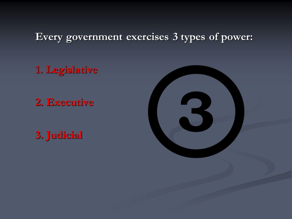 1.Legislative Powers Legislative : the power to make laws.