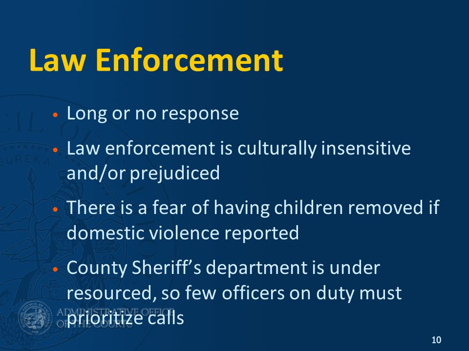 10 Law Enforcement Long or no response Law enforcement is culturally insensitive and/or prejudiced There is a fear of having children removed if domestic violence reported County Sheriff's department is under resourced, so few officers on duty must prioritize calls