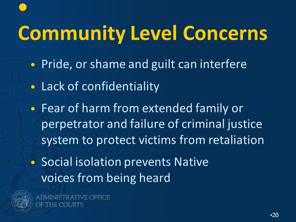 20 Community Level Concerns Pride, or shame and guilt can interfere Lack of confidentiality Fear of harm from extended family or perpetrator and failure of criminal justice system to protect victims from retaliation Social isolation prevents Native voices from being heard