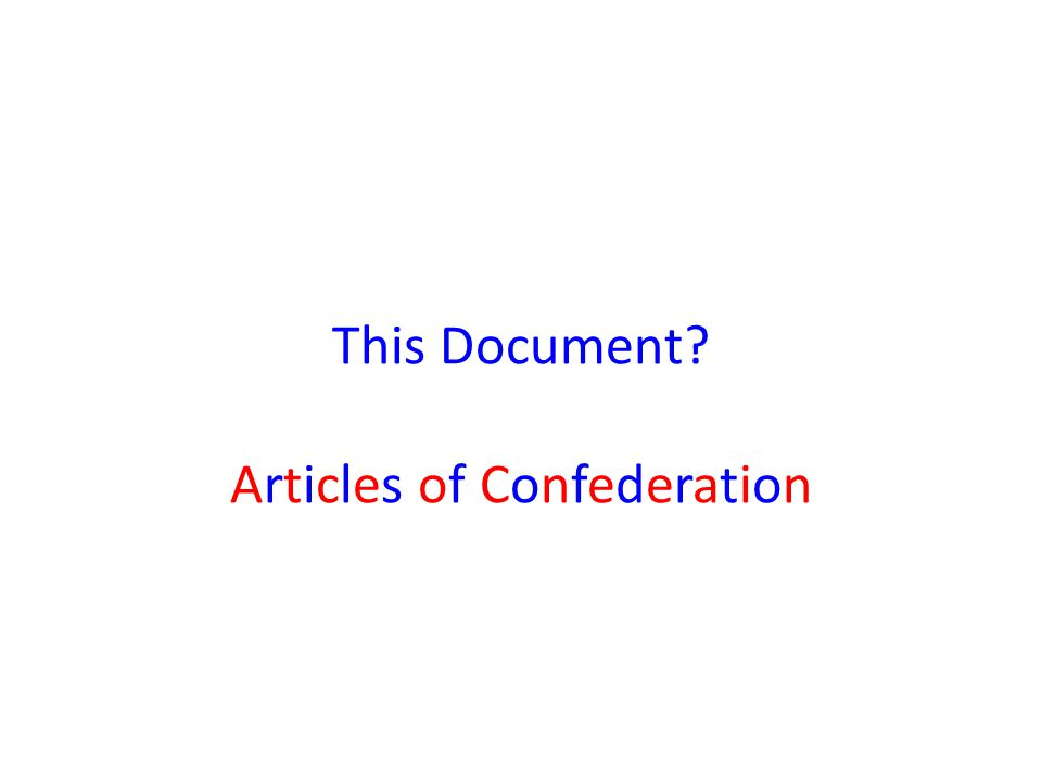 This Document Articles of Confederation