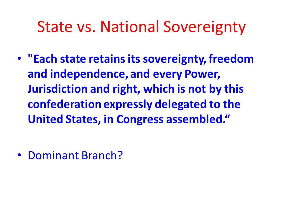 State vs. National Sovereignty