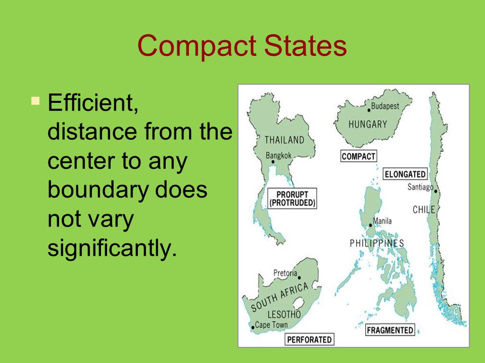 Compact States  Efficient, distance from the center to any boundary does not vary significantly.