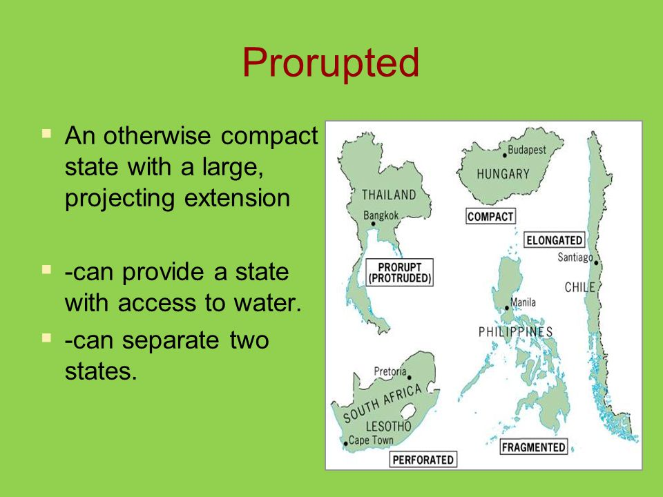 Prorupted  An otherwise compact state with a large, projecting extension  -can provide a state with access to water.