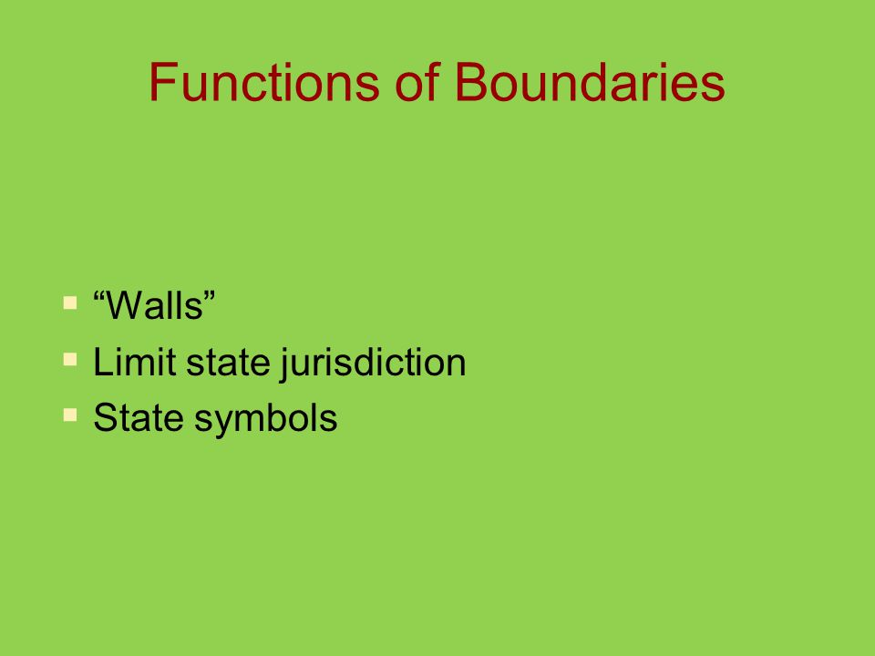 Functions of Boundaries  Walls  Limit state jurisdiction  State symbols