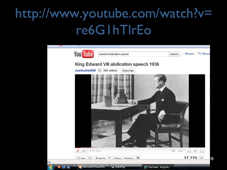 http://www.youtube.com/watch?v= re6G1hTlrEo 10