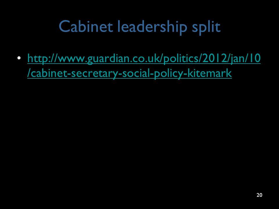 Cabinet leadership split http://www.guardian.co.uk/politics/2012/jan/10 /cabinet-secretary-social-policy-kitemarkhttp://www.guardian.co.uk/politics/2012/jan/10 /cabinet-secretary-social-policy-kitemark 20