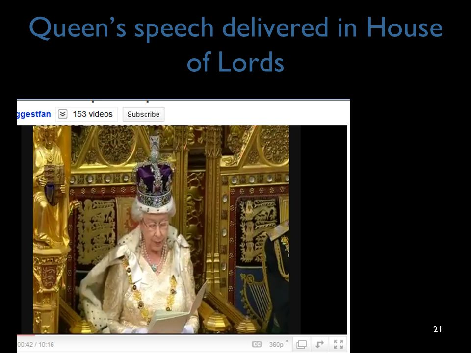 Queen's speech delivered in House of Lords 21