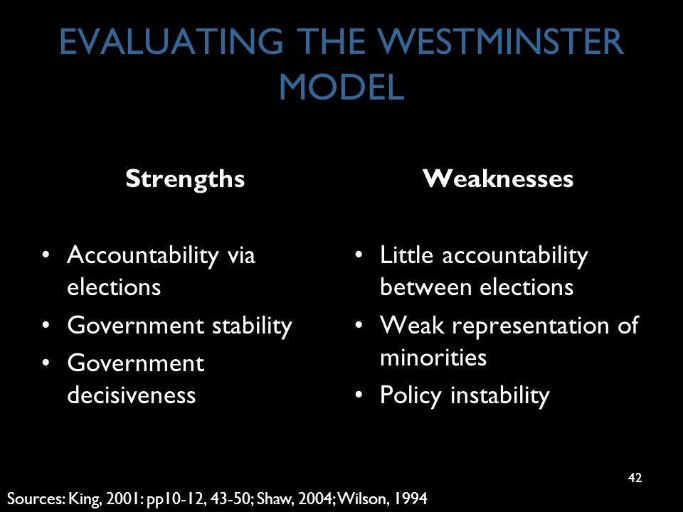 42 EVALUATING THE WESTMINSTER MODEL Strengths Accountability via elections Government stability Government decisiveness Weaknesses Little accountability between elections Weak representation of minorities Policy instability Sources: King, 2001: pp10-12, 43-50; Shaw, 2004; Wilson, 1994