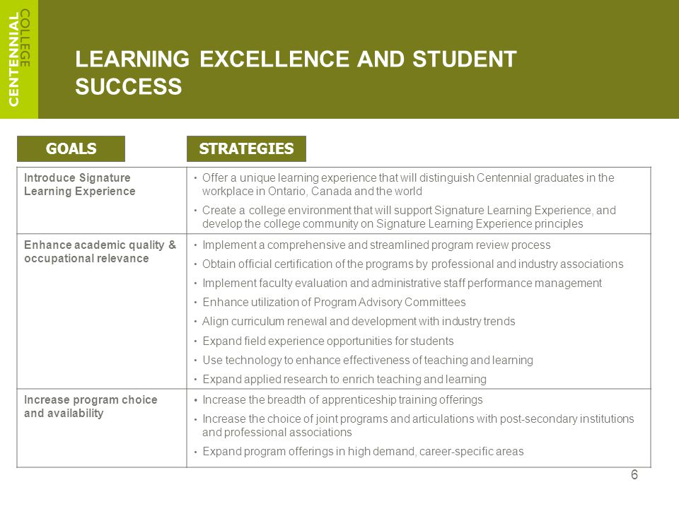 6 LEARNING EXCELLENCE AND STUDENT SUCCESS Introduce Signature Learning Experience Offer a unique learning experience that will distinguish Centennial graduates in the workplace in Ontario, Canada and the world Create a college environment that will support Signature Learning Experience, and develop the college community on Signature Learning Experience principles Enhance academic quality & occupational relevance Implement a comprehensive and streamlined program review process Obtain official certification of the programs by professional and industry associations Implement faculty evaluation and administrative staff performance management Enhance utilization of Program Advisory Committees Align curriculum renewal and development with industry trends Expand field experience opportunities for students Use technology to enhance effectiveness of teaching and learning Expand applied research to enrich teaching and learning Increase program choice and availability Increase the breadth of apprenticeship training offerings Increase the choice of joint programs and articulations with post-secondary institutions and professional associations Expand program offerings in high demand, career-specific areas GOALSSTRATEGIES