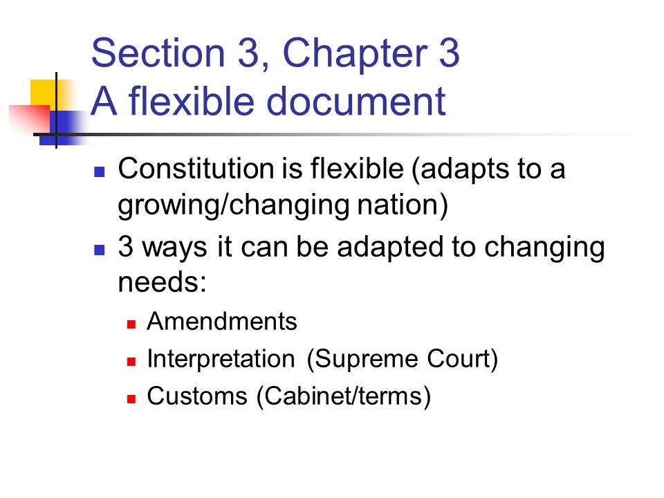 Section 3, Chapter 3 A flexible document Constitution is flexible (adapts to a growing/changing nation) 3 ways it can be adapted to changing needs: Am