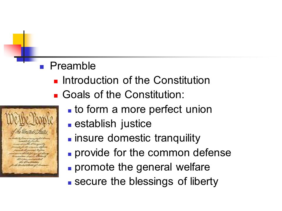 Preamble Introduction of the Constitution Goals of the Constitution: to form a more perfect union establish justice insure domestic tranquility provid