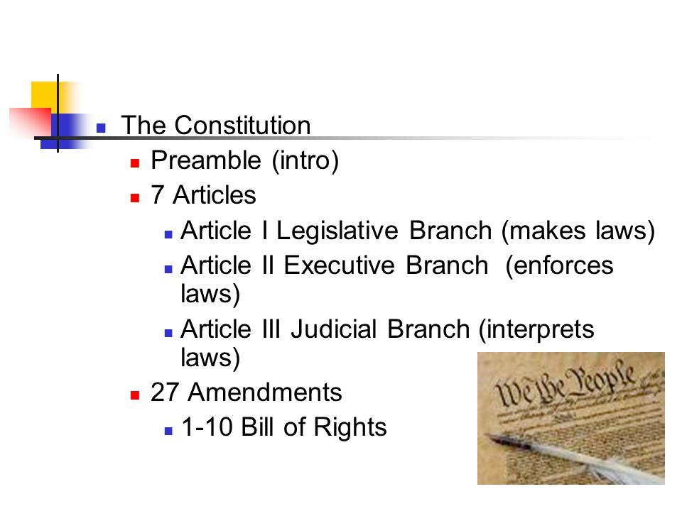 The Constitution Preamble (intro) 7 Articles Article I Legislative Branch (makes laws) Article II Executive Branch (enforces laws) Article III Judicial Branch (interprets laws) 27 Amendments 1-10 Bill of Rights