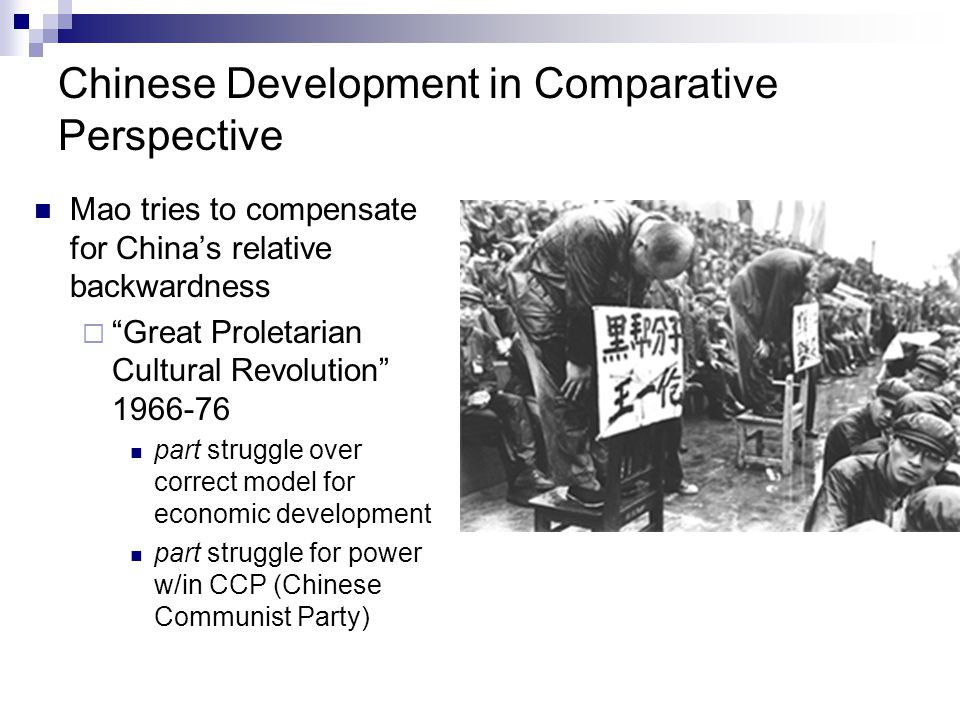 "Chinese Development in Comparative Perspective Mao tries to compensate for China's relative backwardness  ""Great Proletarian Cultural Revolution"" 196"