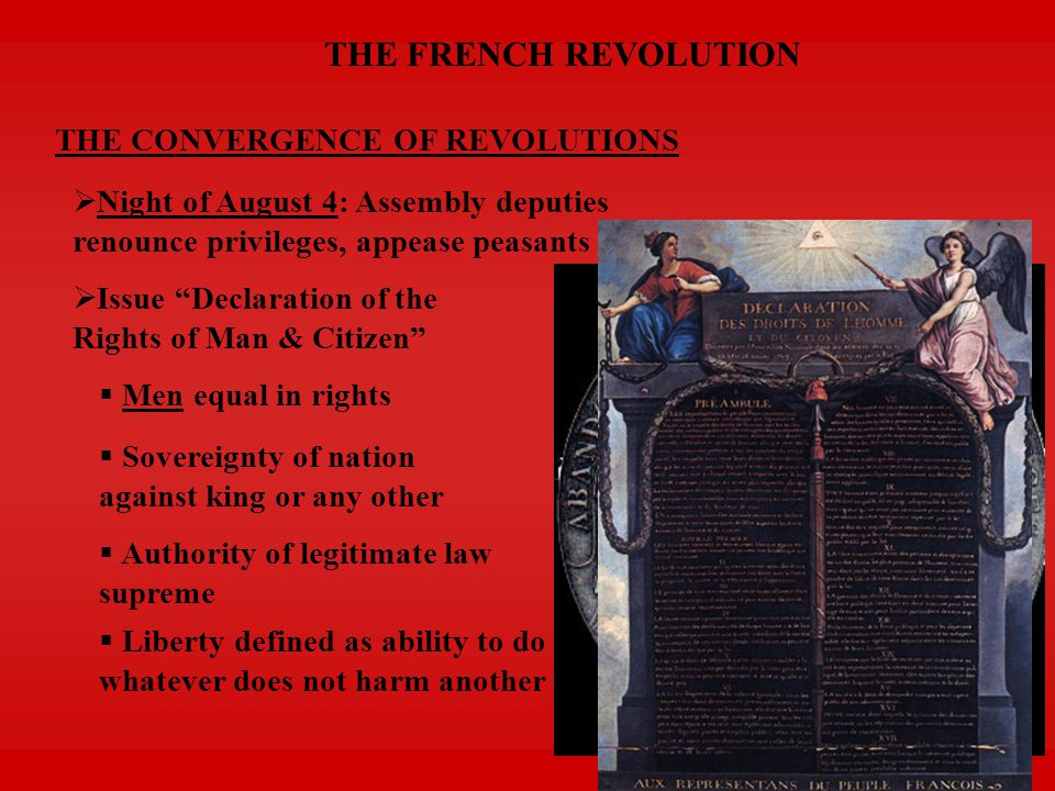 THE FRENCH REVOLUTION THE CONVERGENCE OF REVOLUTIONS  Night of August 4: Assembly deputies renounce privileges, appease peasants  Issue Declaration of the Rights of Man & Citizen  Men equal in rights  Sovereignty of nation against king or any other  Authority of legitimate law supreme  Liberty defined as ability to do whatever does not harm another