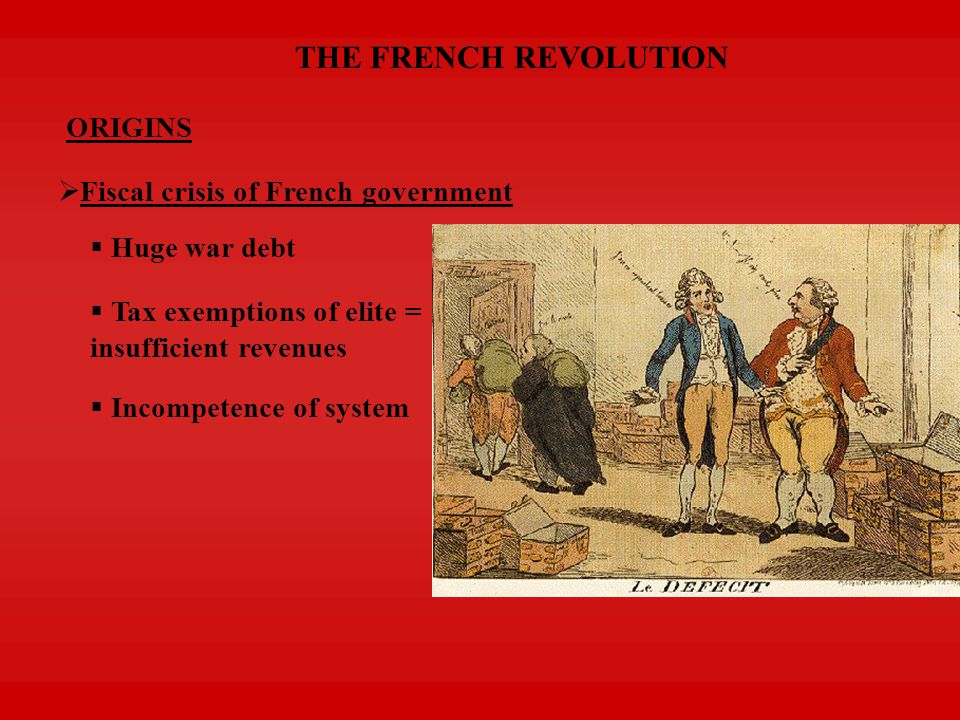 THE FRENCH REVOLUTION ORIGINS  Desire for institutional change  Estates General called in 1789  THIRD ESTATE = driving force of Revolution King insisted on vote by order Delegates of 3 rd Estate wanted vote by head