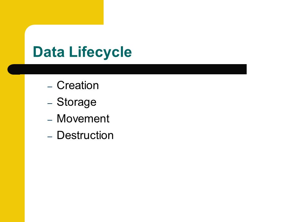 Data Lifecycle – Creation – Storage – Movement – Destruction