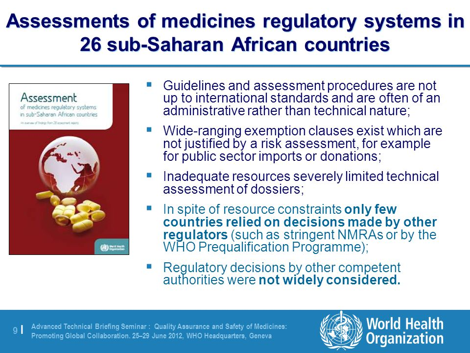 9 |9 | Advanced Technical Briefing Seminar : Quality Assurance and Safety of Medicines: Promoting Global Collaboration.