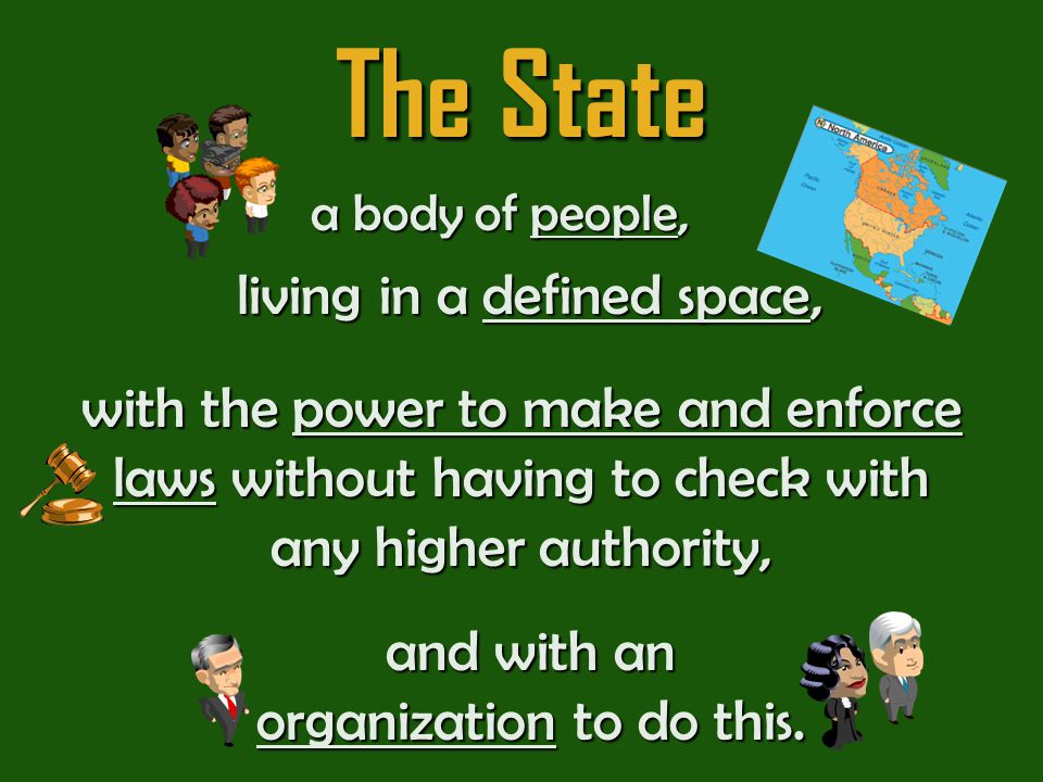 The State You can tell from the definition that there are four key features of a state… What are they?