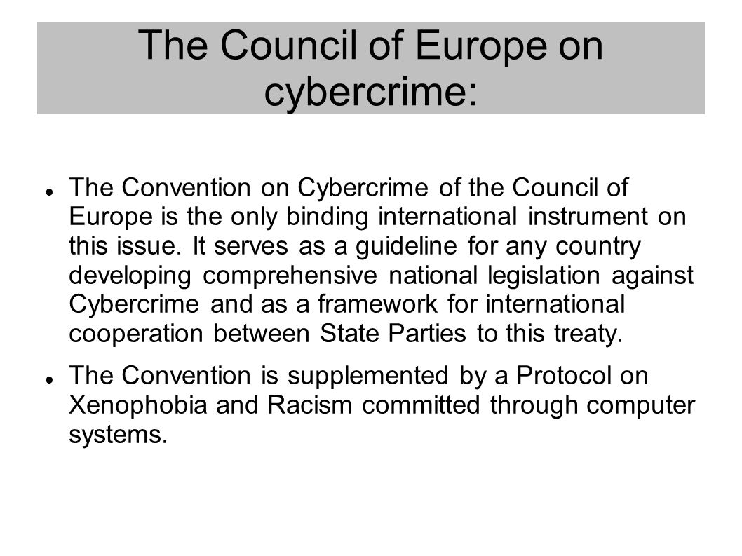The Council of Europe on cybercrime: The Convention on Cybercrime of the Council of Europe is the only binding international instrument on this issue.