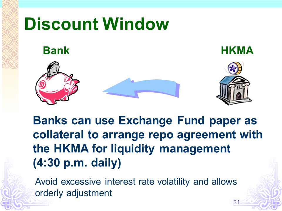 21 Discount Window BankHKMA Banks can use Exchange Fund paper as collateral to arrange repo agreement with the HKMA for liquidity management (4:30 p.m