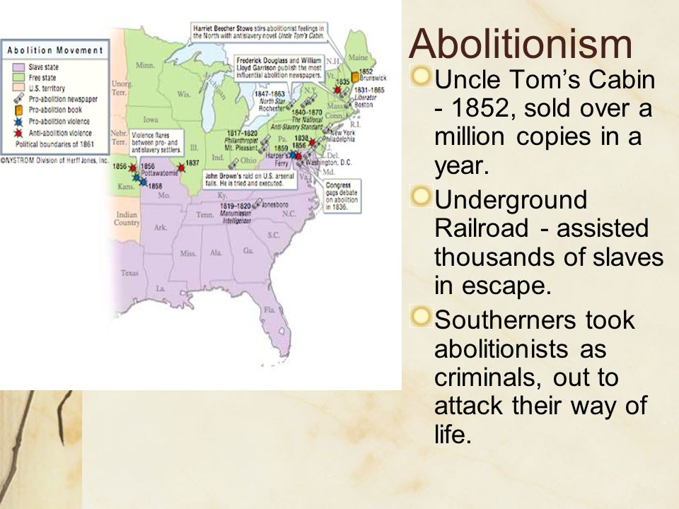 Abolitionism Uncle Tom's Cabin - 1852, sold over a million copies in a year.