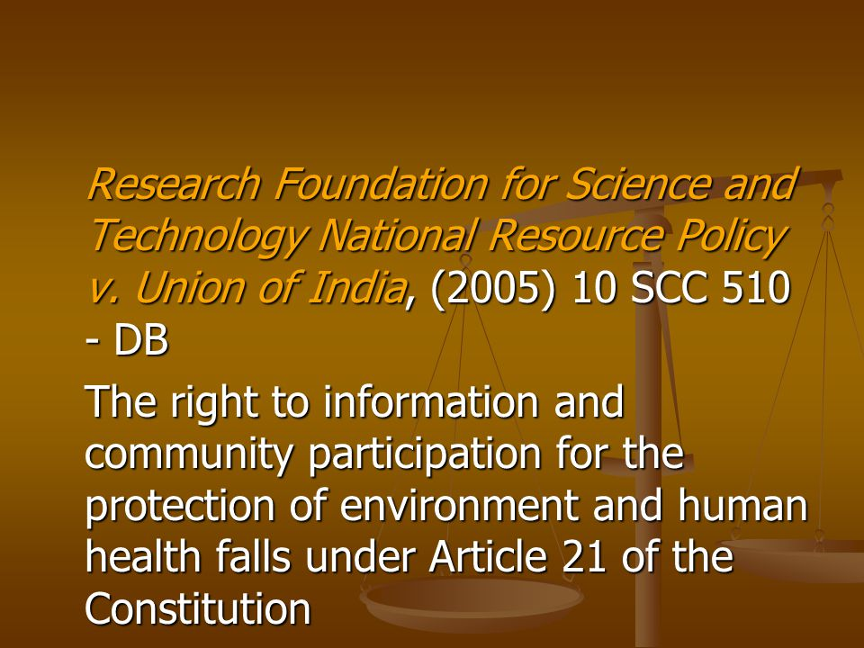 Research Foundation for Science and Technology National Resource Policy v.