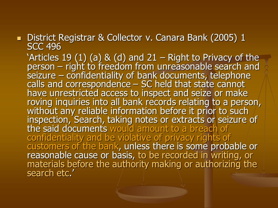 District Registrar & Collector v. Canara Bank (2005) 1 SCC 496 District Registrar & Collector v.