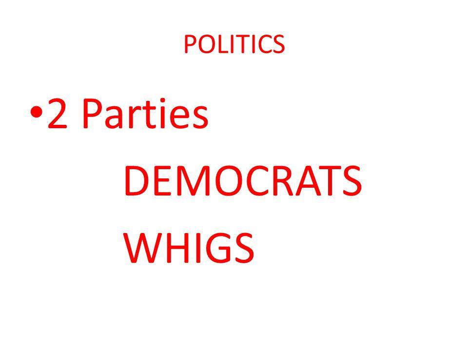 POLITICS 2 Parties DEMOCRATS WHIGS