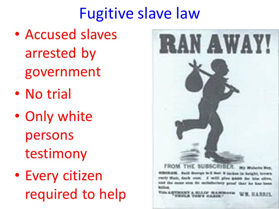 Accused slaves arrested by government No trial Only white persons testimony Every citizen required to help