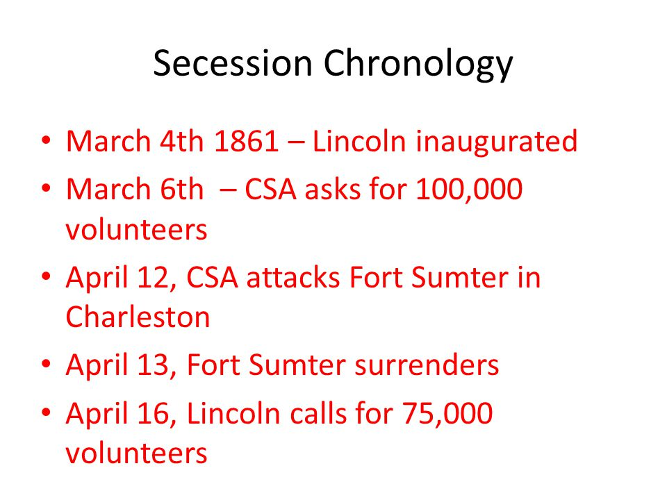 Secession Chronology March 4th 1861 – Lincoln inaugurated March 6th – CSA asks for 100,000 volunteers April 12, CSA attacks Fort Sumter in Charleston April 13, Fort Sumter surrenders April 16, Lincoln calls for 75,000 volunteers