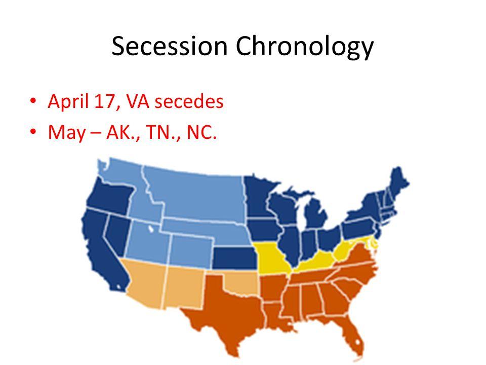 Secession Chronology April 17, VA secedes May – AK., TN., NC.