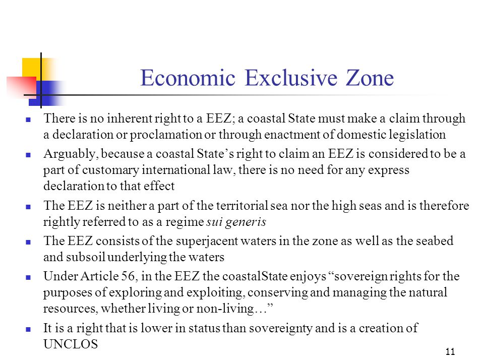 Economic Exclusive Zone The coastal State has no sovereign rights over resources that are not natural such as wrecks and other artificial remains in the seas that are subject to the law of salvage In the EEZ, under Article 56, the coastal State also has jurisdiction with regard to - the establishment and use of artificial islands, installations and structures; marine scientific research; the protection and preservation of the marine environment The second and third items mentioned above are covered by Parts XIII and XII of UNCLOS respectively 12