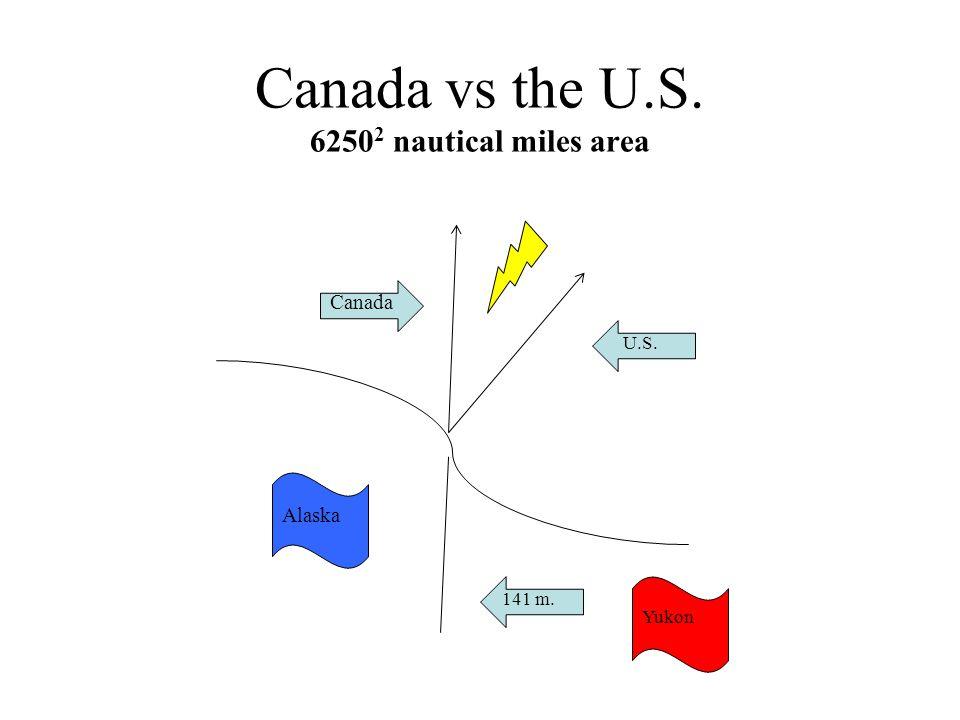 Canada vs the U.S. 6250 2 nautical miles area 141 m. U.S. Canada Yukon Alaska