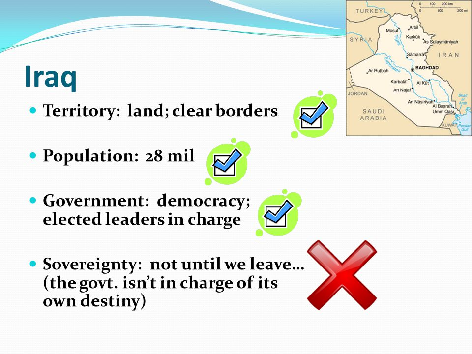 Iraq Territory: land; clear borders Population: 28 mil Government: democracy; elected leaders in charge Sovereignty: not until we leave… (the govt.