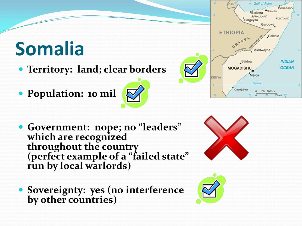 """Somalia Territory: land; clear borders Population: 10 mil Government: nope; no """"leaders"""" which are recognized throughout the country (perfect example"""