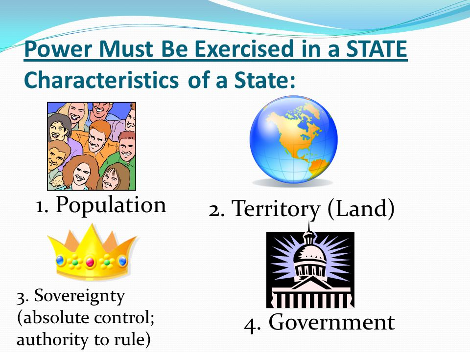 Power Must Be Exercised in a STATE Characteristics of a State: 1. Population 2. Territory (Land) 3. Sovereignty (absolute control; authority to rule)