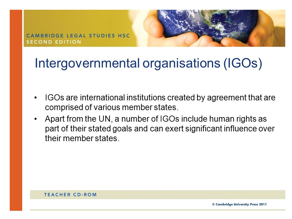 IGOs are international institutions created by agreement that are comprised of various member states.