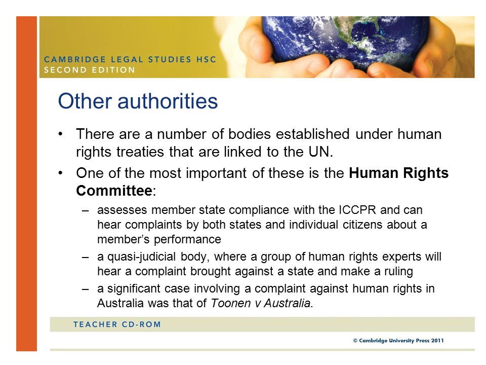 There are a number of bodies established under human rights treaties that are linked to the UN.