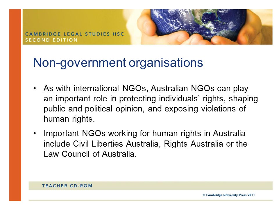 As with international NGOs, Australian NGOs can play an important role in protecting individuals' rights, shaping public and political opinion, and exposing violations of human rights.