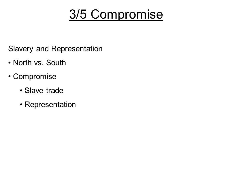 Slavery and Representation North vs. South Compromise Slave trade Representation 3/5 Compromise