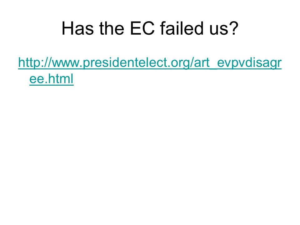 Has the EC failed us? http://www.presidentelect.org/art_evpvdisagr ee.html