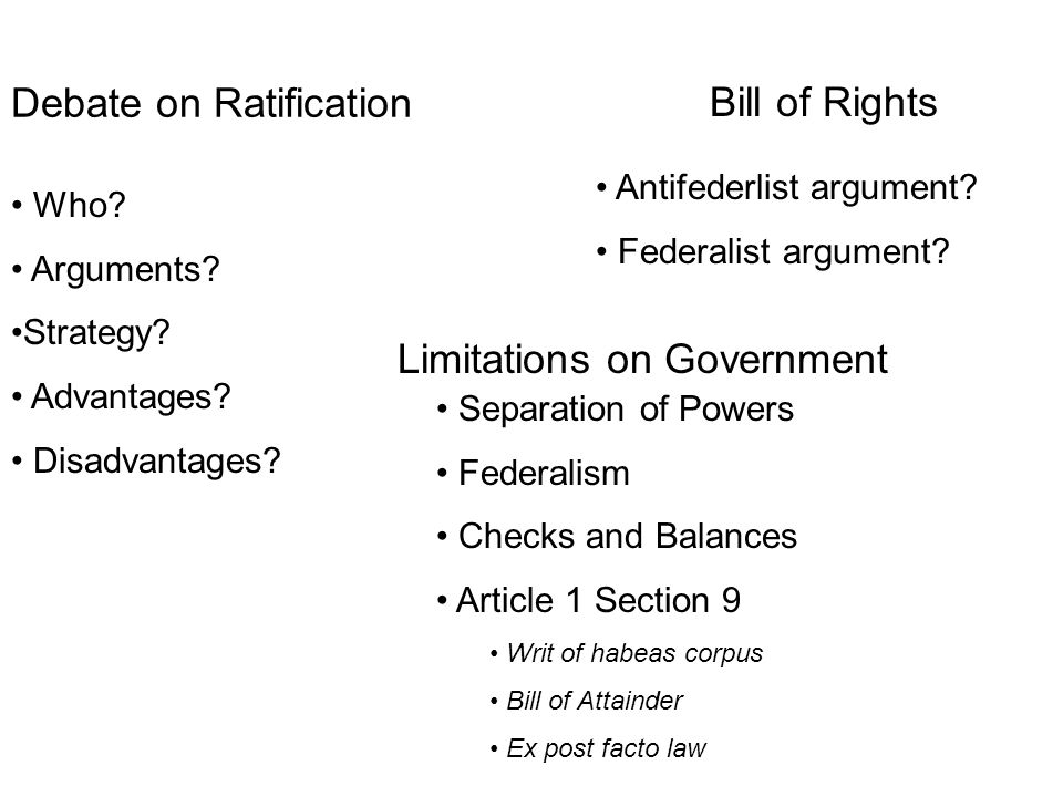 Debate on Ratification Who. Arguments. Strategy.