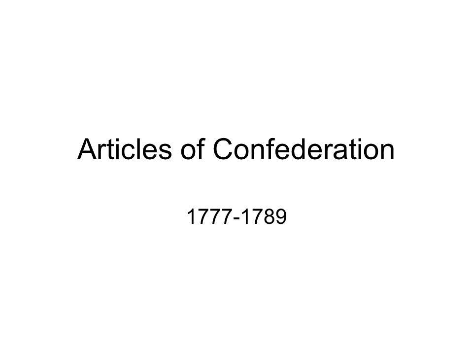 Articles of Confederation 1777-1789