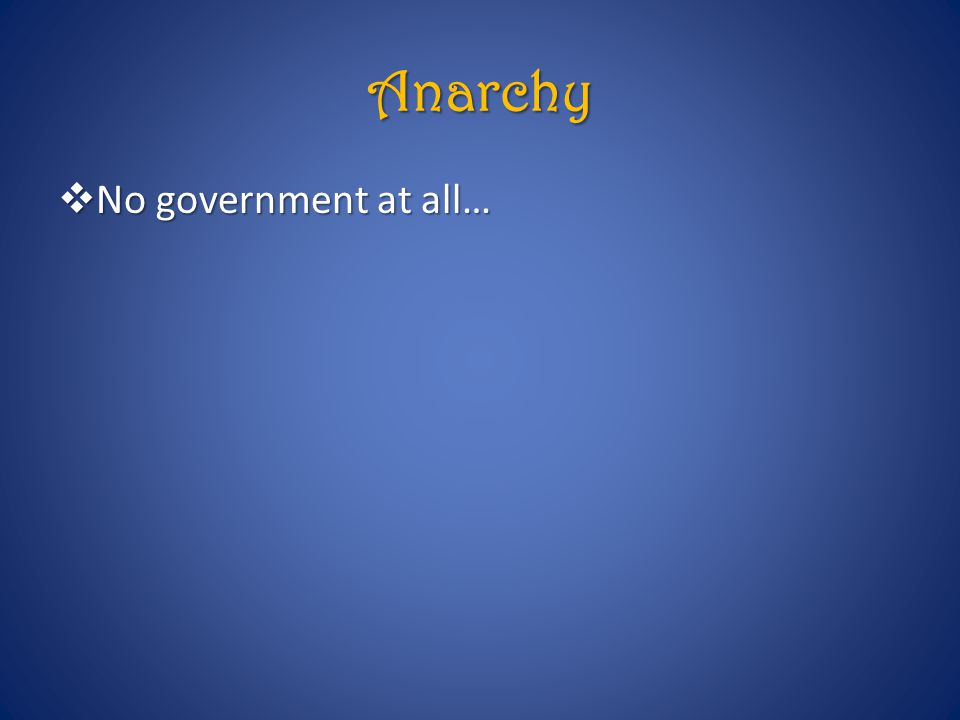 Anarchy  No government at all…