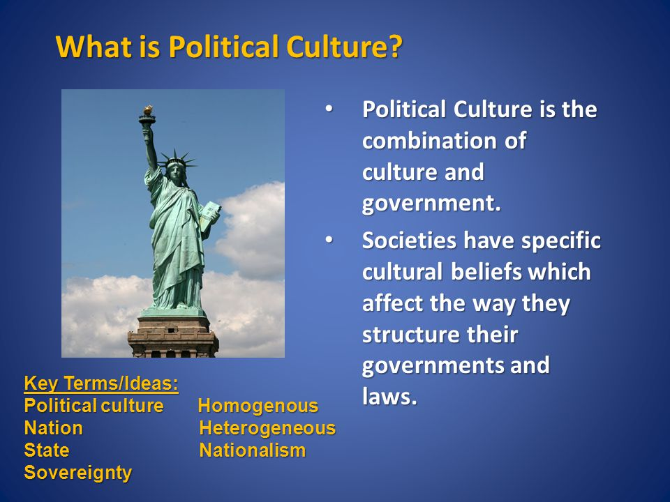 What is Political Culture. Political Culture is the combination of culture and government.