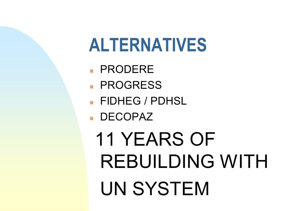 ALTERNATIVES n PRODERE n PROGRESS n FIDHEG / PDHSL n DECOPAZ 11 YEARS OF REBUILDING WITH UN SYSTEM
