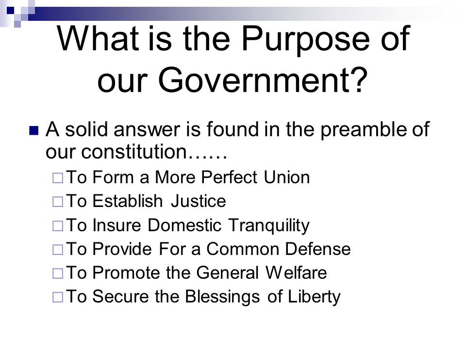 What is the Purpose of our Government? A solid answer is found in the preamble of our constitution……  To Form a More Perfect Union  To Establish Jus