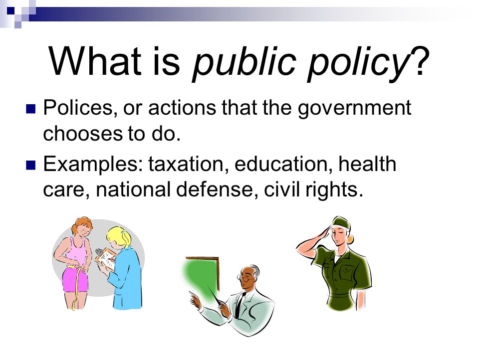 What is public policy? Polices, or actions that the government chooses to do. Examples: taxation, education, health care, national defense, civil righ
