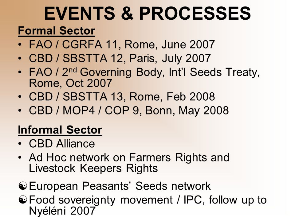 EVENTS & PROCESSES Formal Sector FAO / CGRFA 11, Rome, June 2007 CBD / SBSTTA 12, Paris, July 2007 FAO / 2 nd Governing Body, Int'l Seeds Treaty, Rome