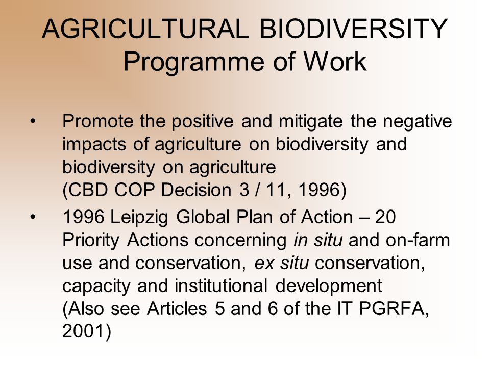 AGRICULTURAL BIODIVERSITY Programme of Work CBD COP V / 5 Four elements of the programme of work on agricultural biodiversity: 1.Assessments 2.Adaptive Management 3.Capacity Building and 4.Mainstreaming Also international initiatives on pollinators, food and nutrition, and soil biodiversity.